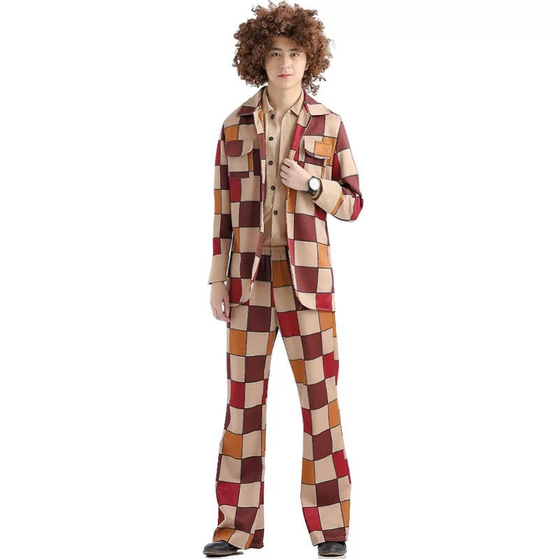 Adult Men Women Couples Hip Hop Singer Costume Fancy 60s 70s Hippy Vintage Cosplay Outfit Pop Music Club Suit For Male Female