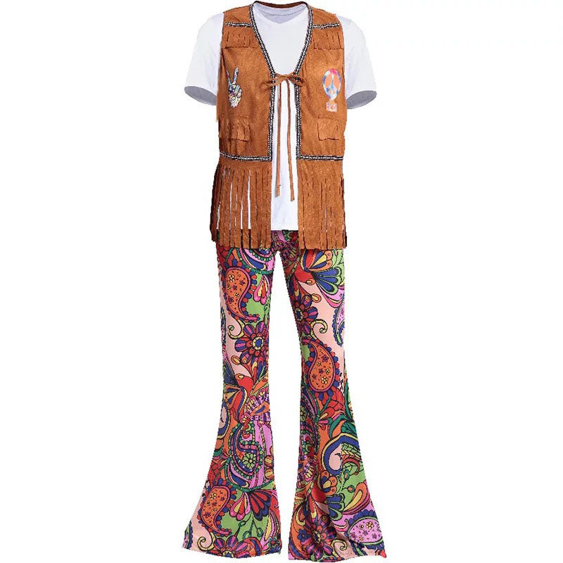 e6406f0e026 Adult Men Women Halloween 60s 70s Hippie Clothes Ladies Hippy Fringe Tops  Bell Bottom Pants Party. Hover to zoom