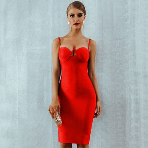 ... Adyce 2018 New Summer Women Bandage Dress Red Black Sexy V Neck  Sleeveless Hollow Out Luxury 8728723af627