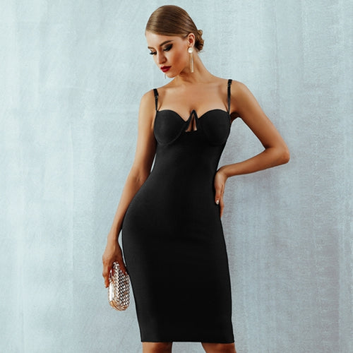 ... Adyce 2018 New Summer Women Bandage Dress Red Black Sexy V Neck  Sleeveless Hollow Out Luxury ... 1b477f46877a