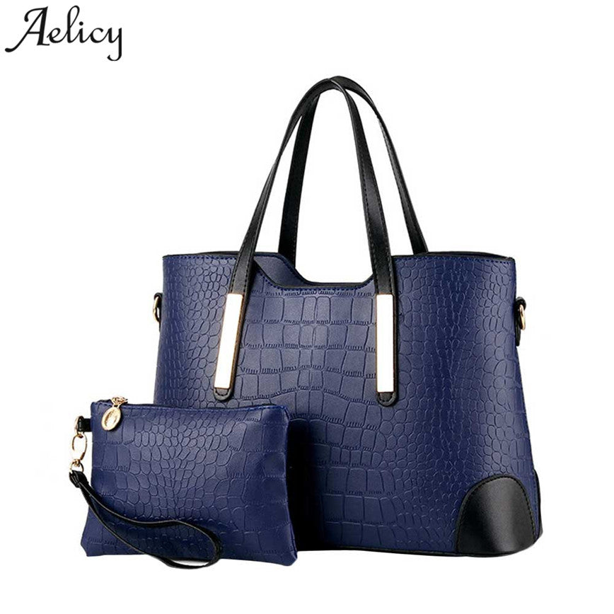 0a9f6589ec5a Aelicy Luxury Handbag Women PU Leather Zipper Large Capacity Messager Bags  High Quality Shoulder Bag Female Bag Set 2Pcs S30