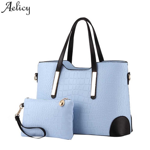 Aelicy Luxury Handbag Women PU Leather Zipper Large Capacity Messager Bags High Quality Shoulder Bag Female Bag Set 2Pcs S30