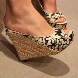 Aesthetic straw braid summer wedges platform sandals slippers open toe women's high heels plus size shoes