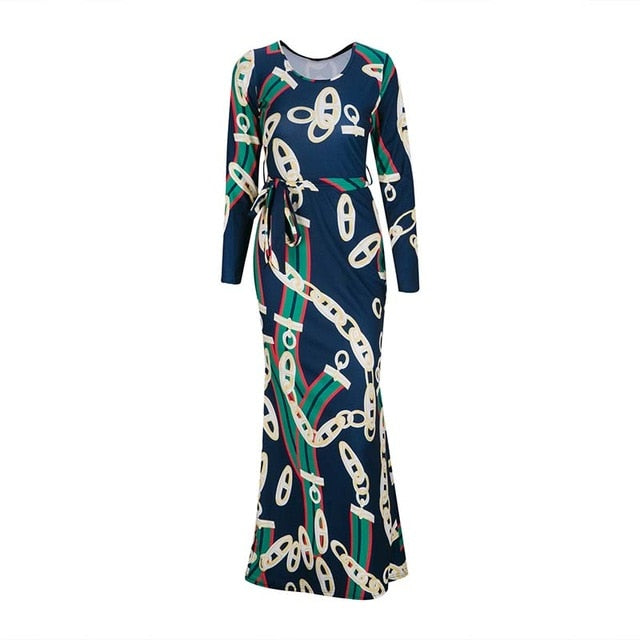 ... Africa Clothing Trendy Gold Chain Printed Long Sleeve Belted Maxi Dress  Women Autumn Bodycon Robe Long 3aac7eaca