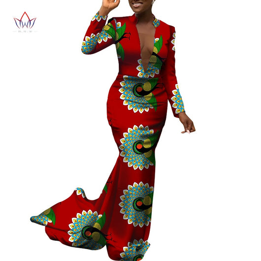 Africa Dress for Women new Danshiki Bazin Riche Sexy Wedding Party long sleeve long Dress Traditional African Clothing WY5878