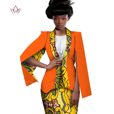 Africa Style Women African Clothing Two Piece Set Dress Suit for Women Tops Jacket and Print Skirt Bazin Riche Clothing WY551