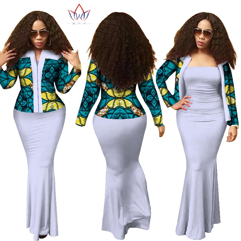 African 2 Pieces Set For Women 2018 New Style Dashiki Crop Top Long