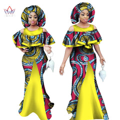 African 2017 Maxi Dress for Women Sleeveless Dashiki Print Mermaid Dresses Africa Style with Headscarf Plus Size BRW WY1065 1