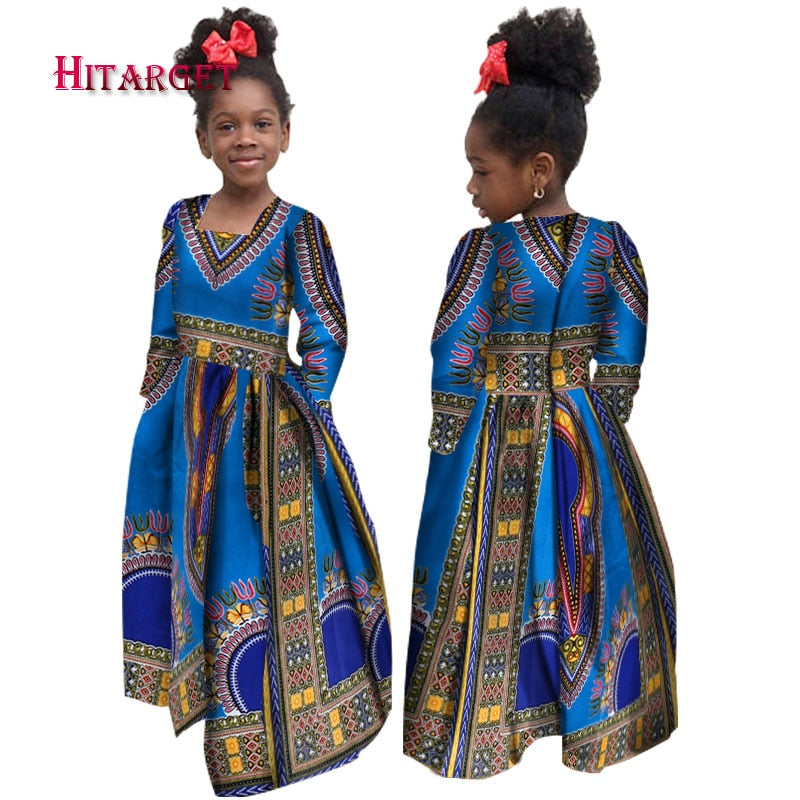 7eb24ef0a5c9 African Autumn Girl Dress Kids Dashiki Traditional Cotton Long Sleeve  Dresses Matching Africa Print Girl Natural. Hover to zoom