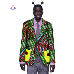 African Bazin Riche Brand Clothing Elegant Long Sleeve Mens Jackets Blazer Men Casual African Print Cotton Mens Blazer BRW WYN55 1