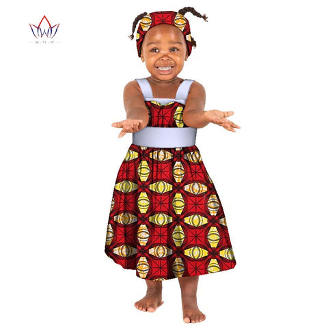 2c0ae6dfc730e African Bazin Riche Kid Dresses 2018 Dashiki Patchwork Cute Girls Dresses  African traditional clothing for Children WYT163