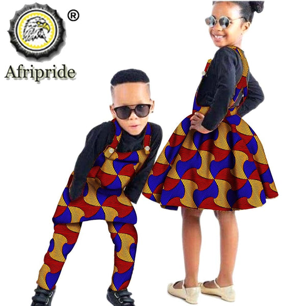 African Children Clothing Wax Print Ankara Boy Suspender Trousers And Girl Suspender Skirt 100% Cotton AFRIPRIDE S204014