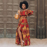 African Clothes 2020 News Dashiki Print Party Shoulder Off Ladies Sling Skirts Africa Dresses for Women Bazin Ankera Long Robe