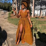 African Clothes 2020 Robe Africaine Fashion Long Dress Split African polyester Dresses for Women Dashiki Print DIY Bandage Sleeveless
