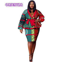 African Clothes African Skirt Suits Dashiki for Women Elegant Skirt Set Femme Bazin Riche Cotton Set Plus Size Two Pieces WY2858