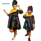 African Clothes Ankara Print Dresses for Women Girls Bazin Riche Mom and Daughter Clothes Dashiki African Design Clothing WYQ266