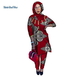 African Clothes Robe and Pants African Women 2 Pieces Pants Sets Bazin Riche African Clothing Headscarf Shirt and Pants WY4919
