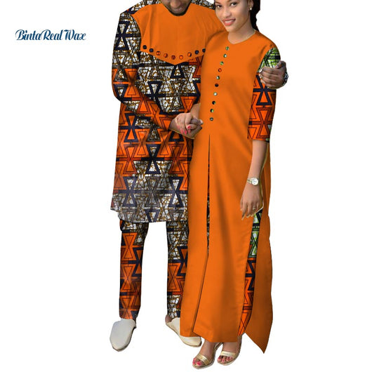 African Clothes Women Ankara Print Long Dresses Mens Shirt and Pants Sets Lover Couples Clothes African Design Clothing WYQ146
