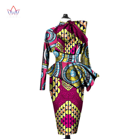 African Clothes Women Ankara Tops Two Piece Set Long Sleeve Crops Tops & Skirt Set Women Bazin Riche African Clothing 6XL WY1394