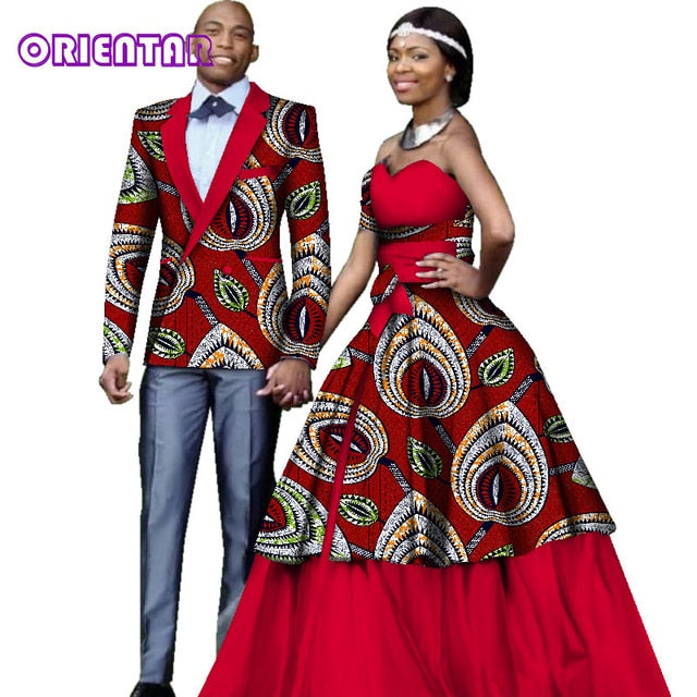 4d5ca7418ff Hover to zoom · African Clothes for Couples Wedding Party African Print  Long Sleeve Men Blazer Coat ...