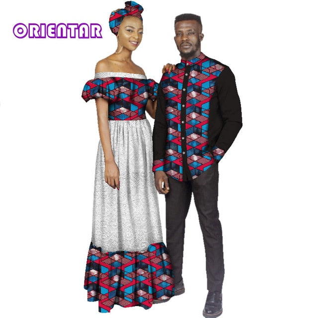 ab492fe19e African Clothes for Couples Women Slash Neck White Lace Long Dress Men  Africa Print Patchwork Shirt. Hover to zoom