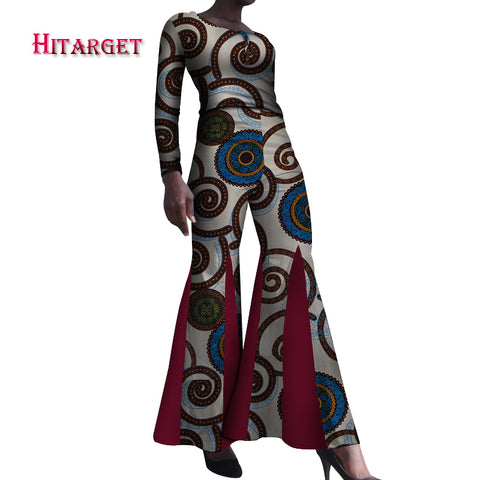African Clothes top and boot cut pant African Women 2 Pieces Pants Sets Bazin Riche African Print Pearl Shirt and Pants   WY4068