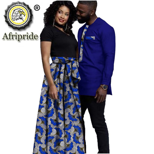 African Clothing for Couple Dashiki Print Outfits Men Shirt Pant Set Women Dress for Dinner Evening Wedding AFRIPRIDE S20C010
