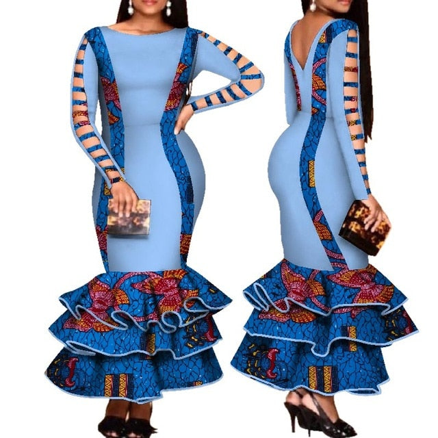 African Dress for Women Hollow Bandage Long Sleeve Mermaid Maxi ...