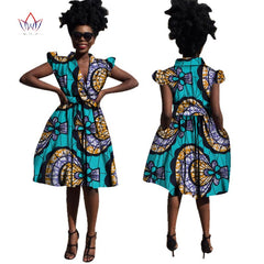 African Dress for Women Summer v-neck Vintage Maxi Dashiki bazin knee-length plus size clothing woman Natural 6xl africa WY1706