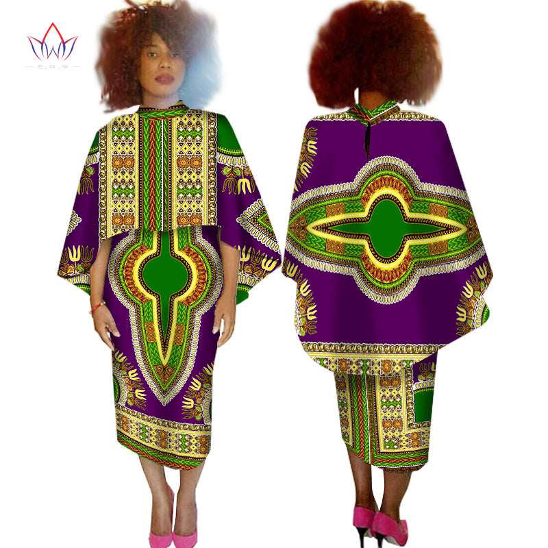 African Dresses for Women 2 Pieces Set Crop Top Cape and Skirt Set Unqie  Cape Coat Maxi Dress Dashiki Women Plus Size 6XL WY1526