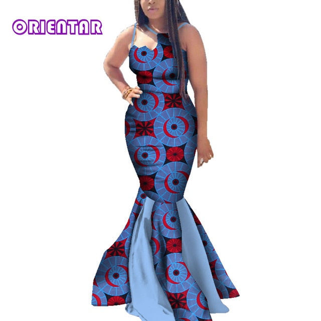 a419a101130 African Dresses for Women Batik Wax Print Bodycon Long Dress Lady Elegant  Off Shoulder Strap Evening. Hover to zoom