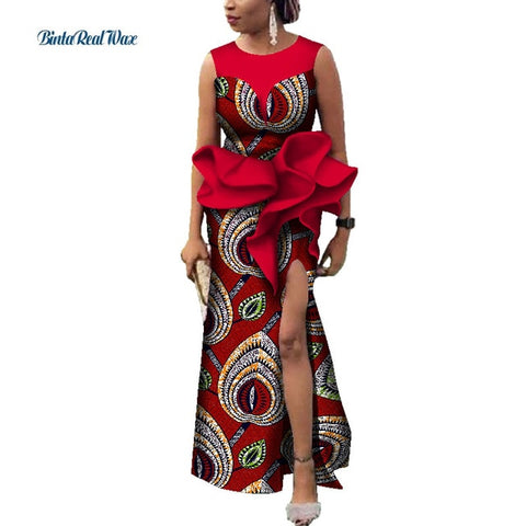 African Dresses for Women Bazin Riche African Clothing Women Long Evening Party Dresses Dashiki African Print Dresses WY3611