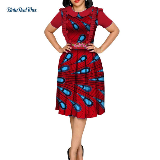 African Dresses for Women Bazin Riche African Clothing Women Shirts Draped Dresses Dashiki African Print Ankara Dresses WY4860