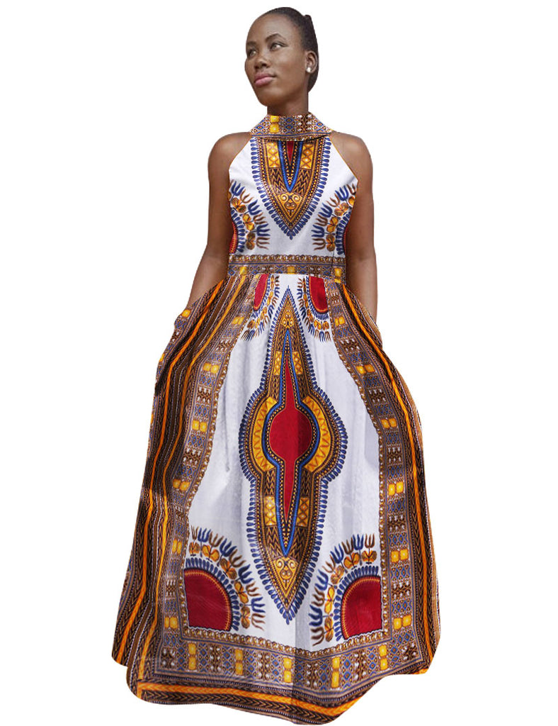 African Dresses for Women Bazin Riche African Dress Sleeveless Out ...
