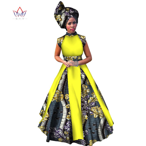 African Dresses for Women Evening Sexy Party Dress Sleeveless Africa Maxi Women Dress with Head Scarf Plus Size 6XL BRW WY1173