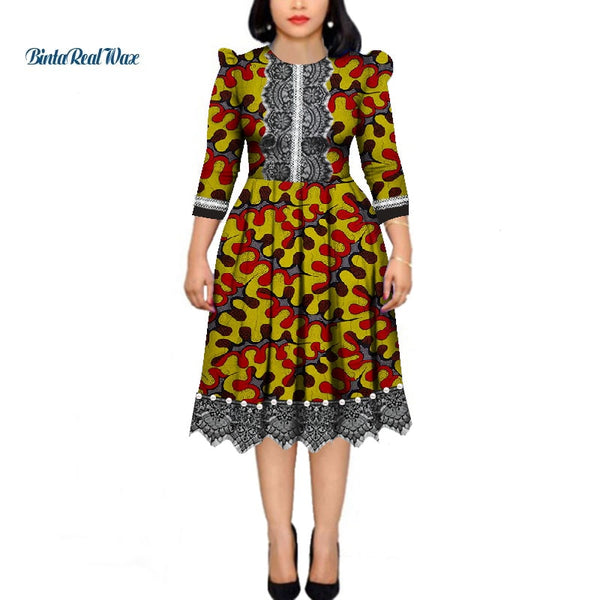 African Dresses for Women Pearls Bazin Riche Wax Print Patchwork  Dresses Dashiki African Style Long Sleeve Dresses WY4339