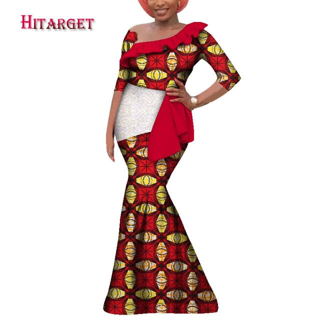 20c3bd0cea9 ... African Dresses for Women Sexy Slash Neck Long Dress Bazin Riche African  Print Mermaid elegant africa ...