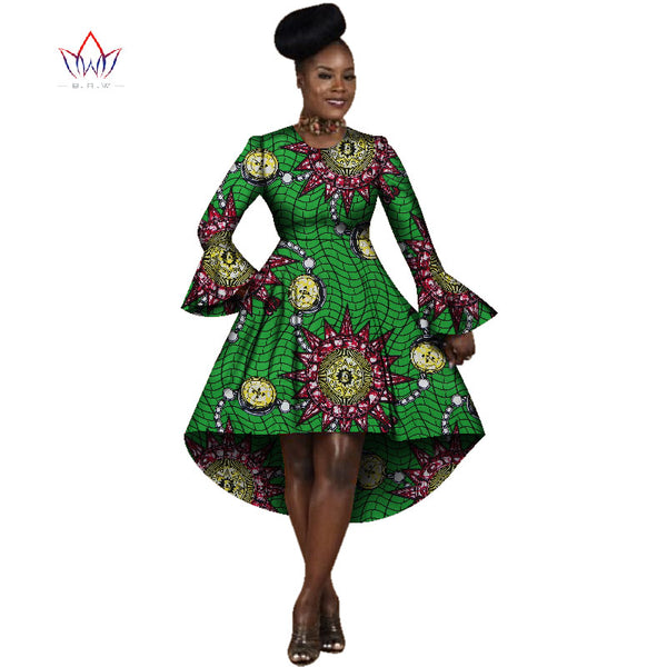 African Dresses for Women Winter Dresses Women 2017 Long Sleeve Dress O-Neck Bazin Rich Women African Print Clothing BRW WY2313