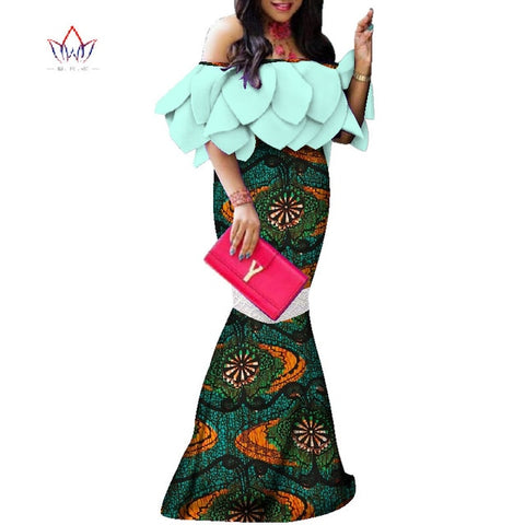 African-Dresses-for-Women-plus-size 2019 Dashiki Elegant Traditional African Clothing Flare Sleeve Party Dress WY3955