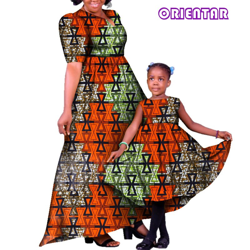 68ca2ec4b412d African Family Matching Clothes Mother and Daughter Dresses African Print  Cotton Women Girl Long Party Dress Plus Size WYQ121 1