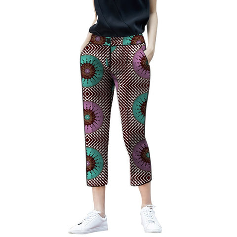 African Fashion Cropped Trousers Women Pants Design Patterns African Style African Print Pencil Pants Ladies Dashiki Trousers