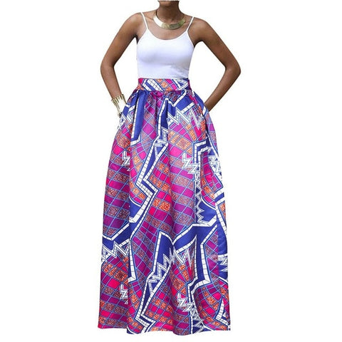 808407312f519 African Fashion Maxi Skirt Women Summer Color Block Ethnic Floral Print  Boho Big Swing High Waist Ladies 2019 Casual Long Skirts