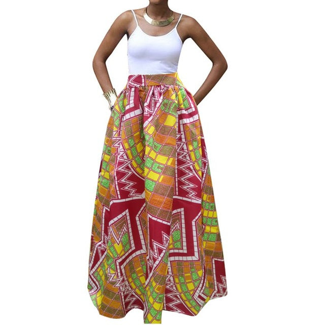 a8b0ee3c9f Click to expand · African Fashion Maxi Skirt Women Summer Color Block  Ethnic Floral Print Boho Big Swing High Waist