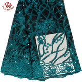 African French Beaded Lace Fabric 2019 High Quality Sequin Lace Fabric Nigerian 5 yards/lot Lace Fabrics for Wedding LA1222