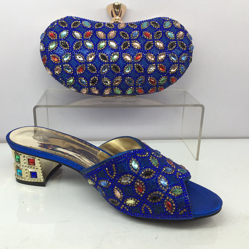 16e19ba6f5ded2 African Italian Shoes and Bag Set Royal Blue Matching Women Shoes and Bag  Set Decorated with ...