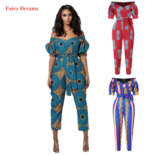 African Jumpsuits For Women Traditional African Clothing Dashiki Ankara Bandage Pencil Trousers 2020 Summer New Style Clothes