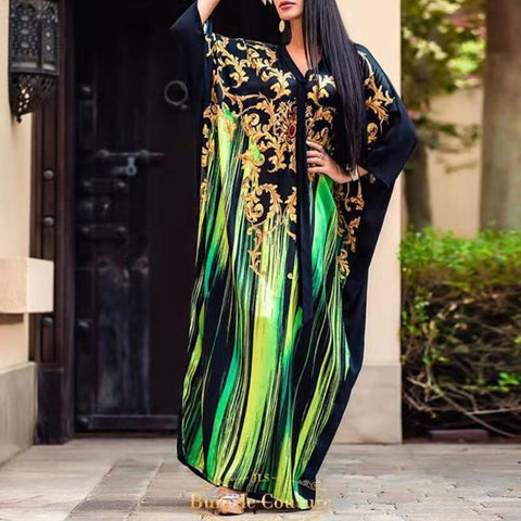 African Maxi Dress Women Boho Print Fashion Long Dresses Plus Size Casual Party Batwing Sleeve Fall 2019 Green Oxersized Vestido