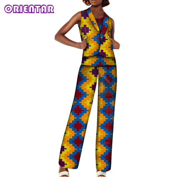 African Pants Set Women Fashion African Suits African Print Cotton Sleeveless Top and Pants Bazin Riche African Clothing WY6052
