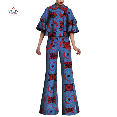 African Print 2 Piece Set For Women Dashiki High waist Pant and Short Crop Top Bazin Riche African Clothing for Lady WY4991
