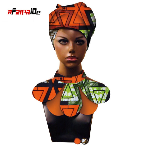 African Print Ankara headwrap African Ankara Fabric head scarf, necklace and Head Scarf 2 Piece SP021